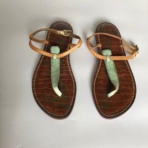 Sam Edelman Shoes - Sam Edelman Thong Sandal Green Snakeskin Size 7